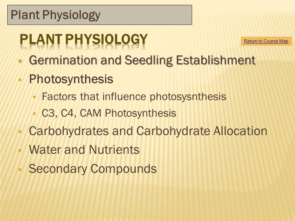 Germination and Seedling Establishment Germination and Seedling Establishment Photosynthesis Factors that influence photosysnthesis C3, C4, CAM Photos