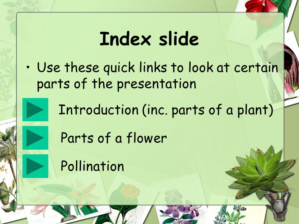 Index slide Use these quick links to look at certain parts of the presentation Introduction (inc.