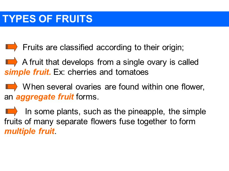 TYPES OF FRUITS Fruits are classified according to their origin; A fruit that develops from a single ovary is called simple fruit.