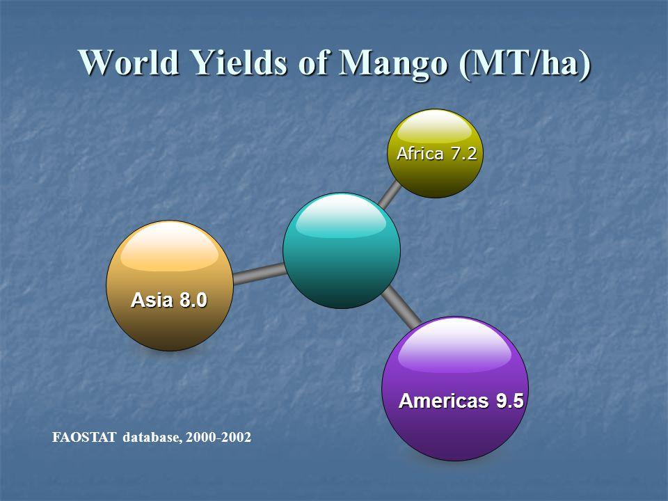 Africa 7.2 Asia 8.0 Americas 9.5 World Yields of Mango (MT/ha) FAOSTAT database, 2000-2002
