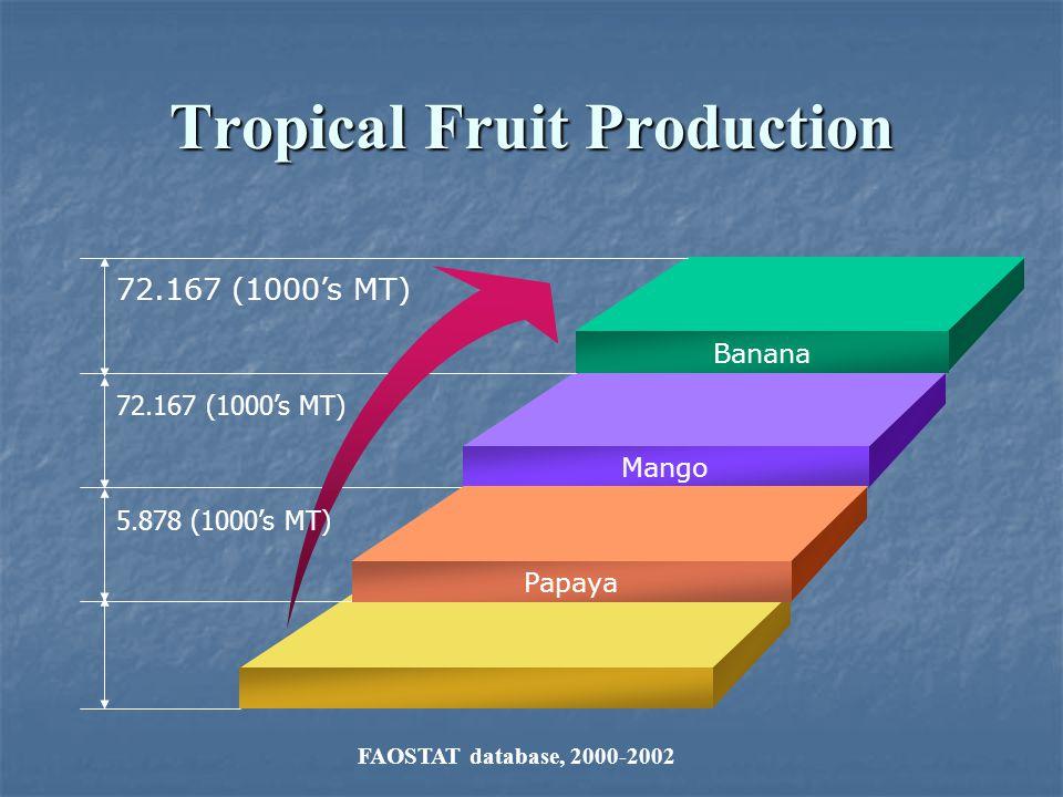 Tropical Fruit Production Banana Mango Papaya 72.167 (1000s MT) 5.878 (1000s MT) FAOSTAT database, 2000-2002