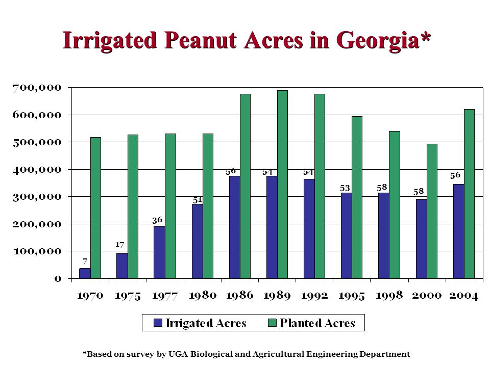 Irrigated Peanut Acres in Georgia* *Based on survey by UGA Biological and Agricultural Engineering Department 7 17 51 5654 5358 36 56