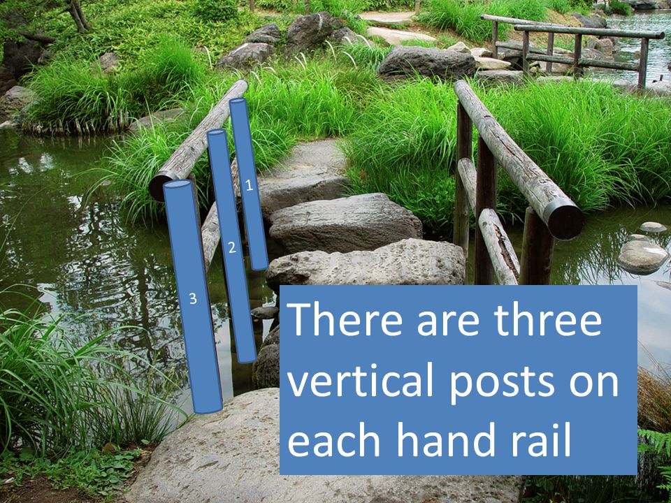 3 2 1 There are three vertical posts on each hand rail