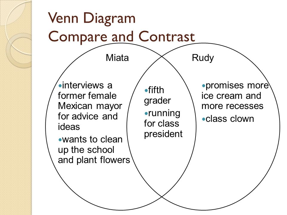 Venn Diagram Compare and Contrast MiataRudy interviews a former female Mexican mayor for advice and ideas wants to clean up the school and plant flowers promises more ice cream and more recesses class clown