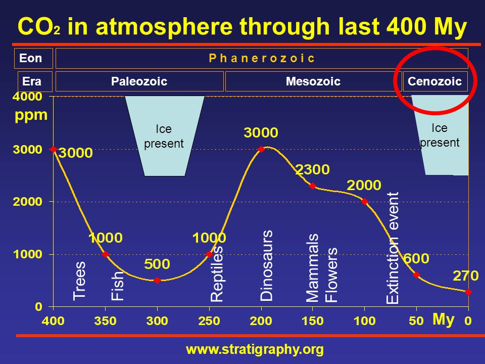 CO 2 in atmosphere through last 50 My ppm IPCC.