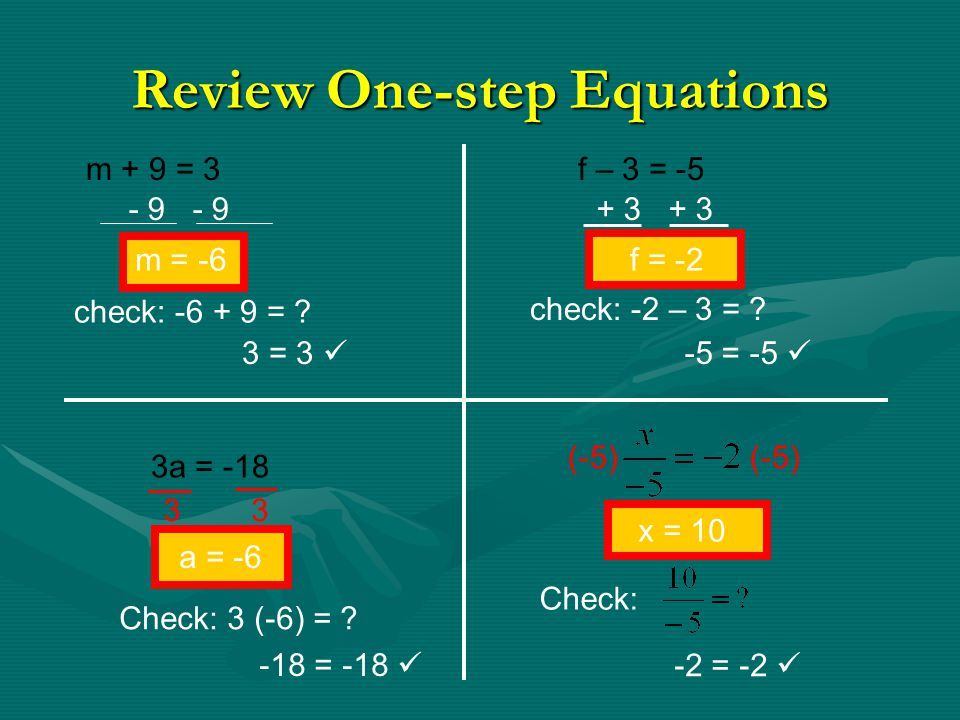 Solving Two Step Equations Students will solve two-step equations using inverse operations. 3a + 5 = 11 -2x – 8 = 16 -3n + 16 = - 2 2y + ( - 3 ) = - 1