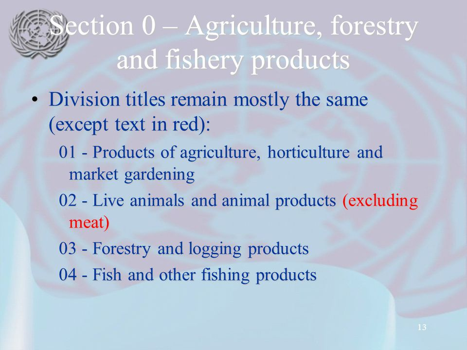 13 Section 0 – Agriculture, forestry and fishery products Division titles remain mostly the same (except text in red):Division titles remain mostly the same (except text in red): 01 - Products of agriculture, horticulture and market gardening 01 - Products of agriculture, horticulture and market gardening 02 - Live animals and animal products (excluding meat) 02 - Live animals and animal products (excluding meat) 03 - Forestry and logging products 03 - Forestry and logging products 04 - Fish and other fishing products 04 - Fish and other fishing products