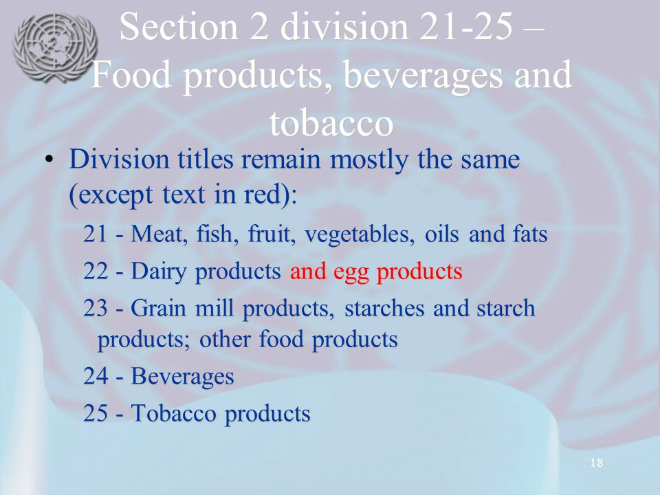 18 Section 2 division 21-25 – Food products, beverages and tobacco Division titles remain mostly the same (except text in red):Division titles remain mostly the same (except text in red): 21 - Meat, fish, fruit, vegetables, oils and fats 21 - Meat, fish, fruit, vegetables, oils and fats 22 - Dairy products and egg products 22 - Dairy products and egg products 23 - Grain mill products, starches and starch products; other food products 23 - Grain mill products, starches and starch products; other food products 24 - Beverages 24 - Beverages 25 - Tobacco products 25 - Tobacco products