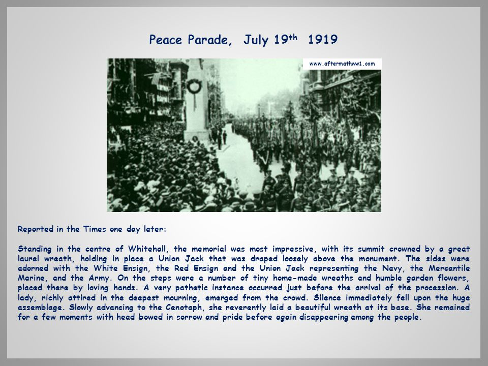 PEACE MARCH - LONDON JULY 19th 1919.
