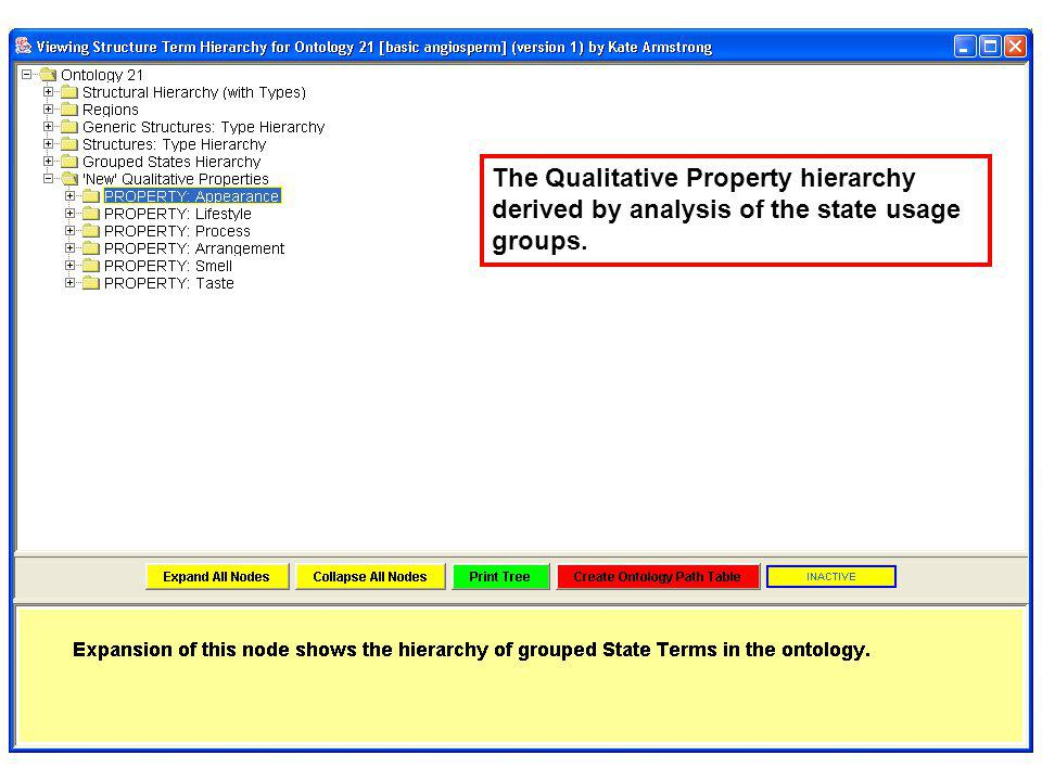 The Qualitative Property hierarchy derived by analysis of the state usage groups.