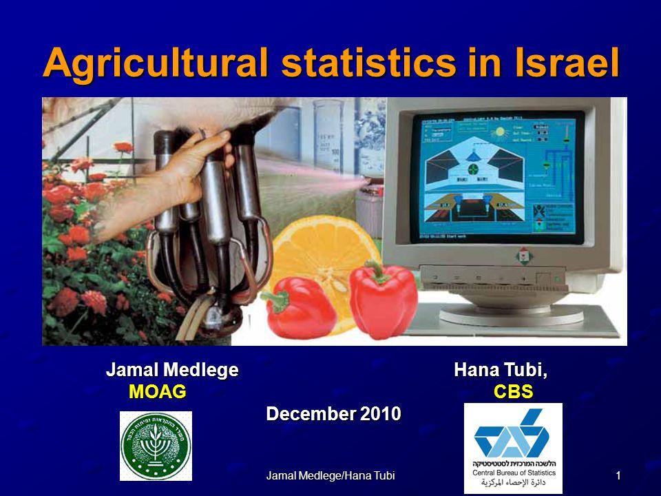 1Jamal Medlege/Hana Tubi Agricultural statistics in Israel Jamal Medlege Hana Tubi, MOAG CBS December 2010