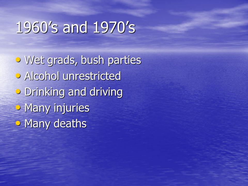 1960s and 1970s Wet grads, bush parties Wet grads, bush parties Alcohol unrestricted Alcohol unrestricted Drinking and driving Drinking and driving Many injuries Many injuries Many deaths Many deaths