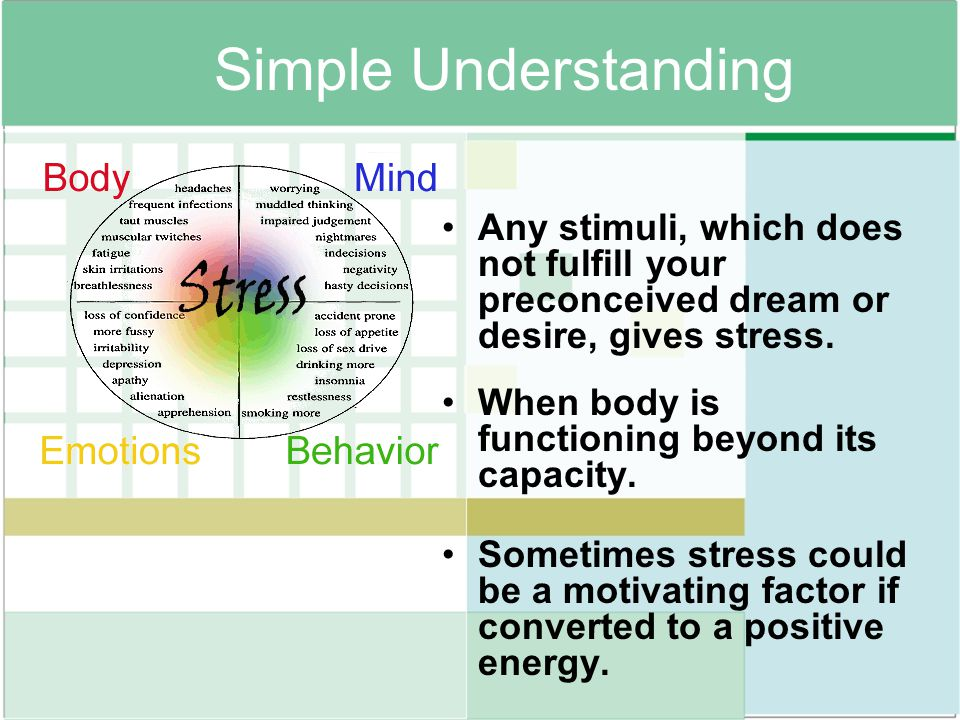 Simple Understanding Any stimuli, which does not fulfill your preconceived dream or desire, gives stress. When body is functioning beyond its capacity