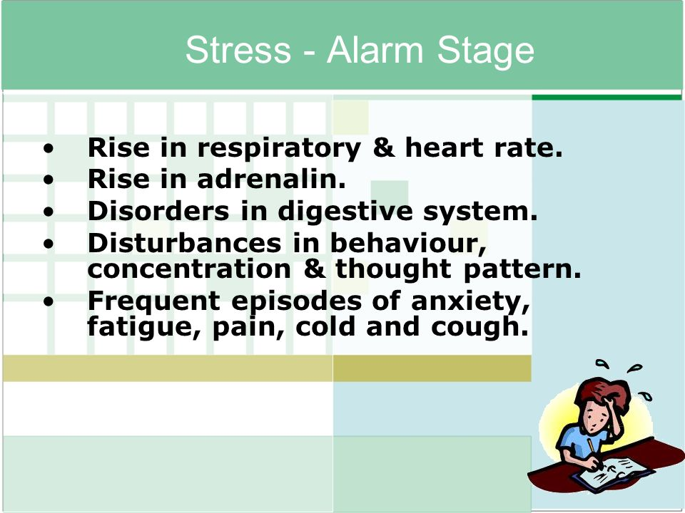 Stress - Alarm Stage Rise in respiratory & heart rate. Rise in adrenalin. Disorders in digestive system. Disturbances in behaviour, concentration & th
