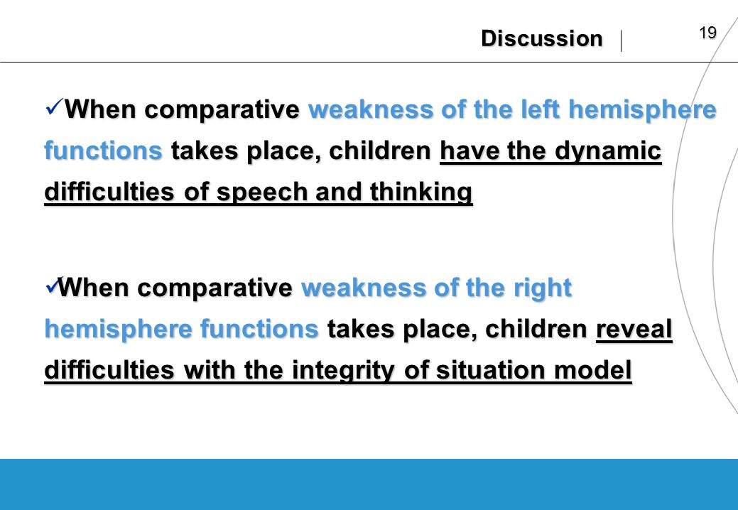19 Discussion When comparative weakness of the left hemisphere functions takes place, children have the dynamic difficulties of speech and thinking When comparative weakness of the left hemisphere functions takes place, children have the dynamic difficulties of speech and thinking When comparative weakness of the right hemisphere functions takes place, children reveal difficulties with the integrity of situation model When comparative weakness of the right hemisphere functions takes place, children reveal difficulties with the integrity of situation model