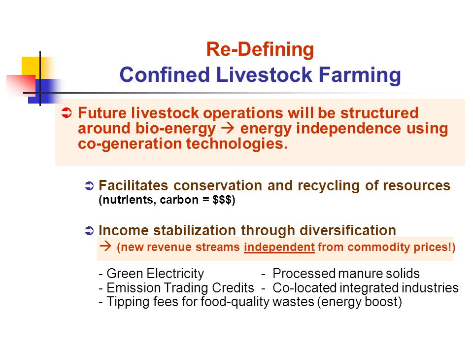 Future livestock operations will be structured around bio-energy energy independence using co-generation technologies.