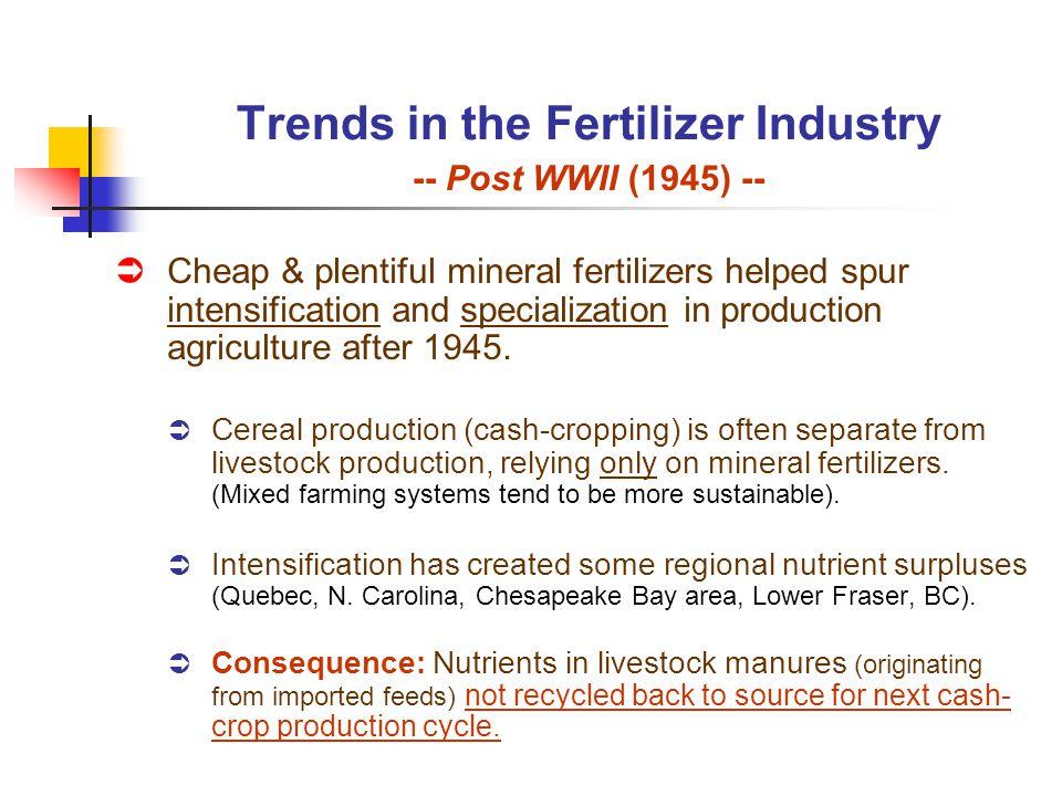 Trends in the Fertilizer Industry -- Post WWII (1945) -- Cheap & plentiful mineral fertilizers helped spur intensification and specialization in produ