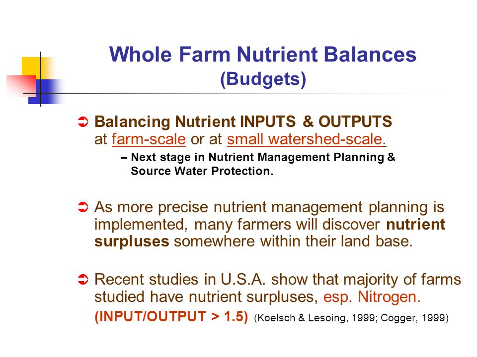 Balancing Nutrient INPUTS & OUTPUTS at farm-scale or at small watershed-scale. – Next stage in Nutrient Management Planning & Source Water Protection.