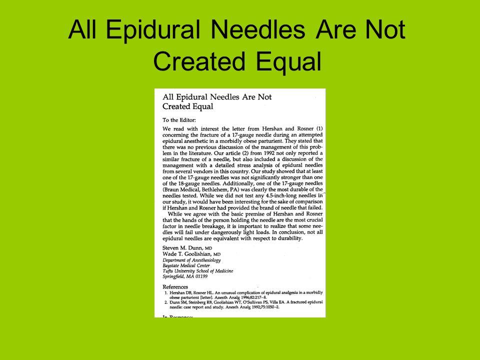Spectral analysis of epidural needles