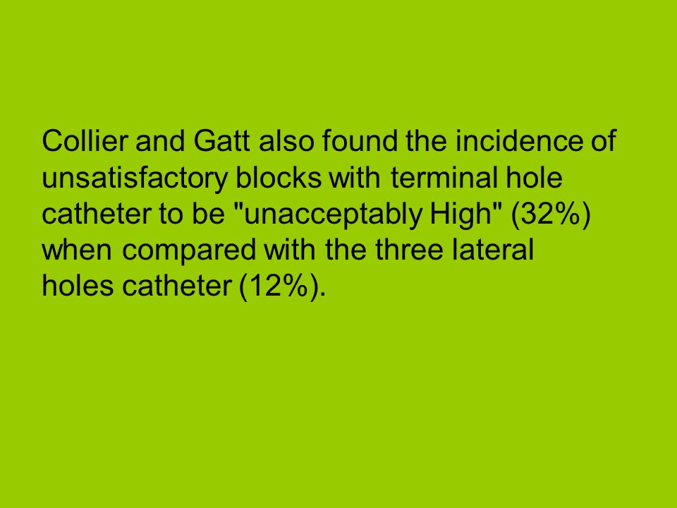 Collier and Gatt also found the incidence of unsatisfactory blocks with terminal hole catheter to be