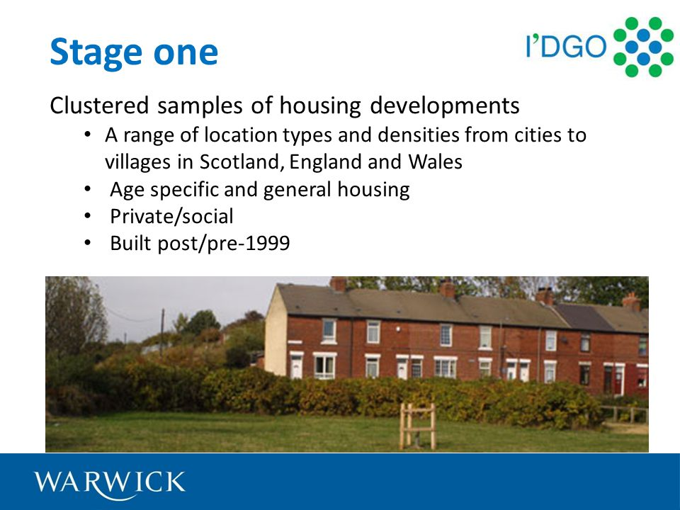Stage one Clustered samples of housing developments A range of location types and densities from cities to villages in Scotland, England and Wales Age specific and general housing Private/social Built post/pre-1999