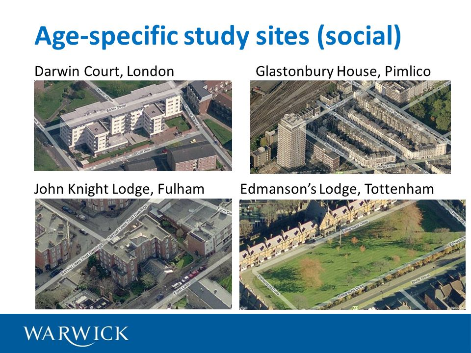 Darwin Court, London Glastonbury House, Pimlico 1 2 John Knight Lodge, Fulham Edmansons Lodge, Tottenham Age-specific study sites (social)