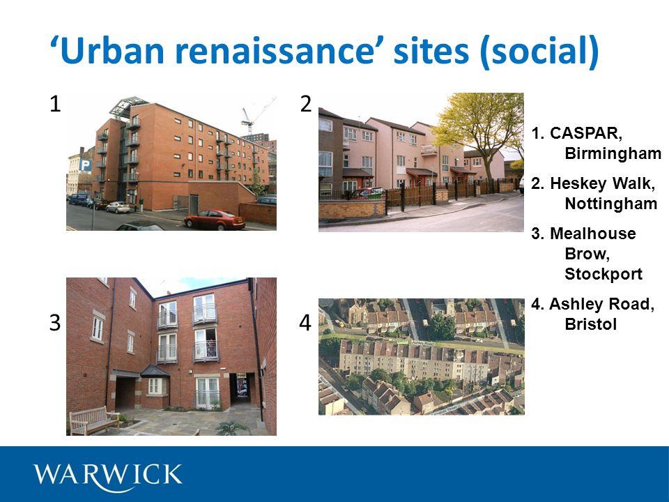 1 2 3 4 Urban renaissance sites (social) 1. CASPAR, Birmingham 2.