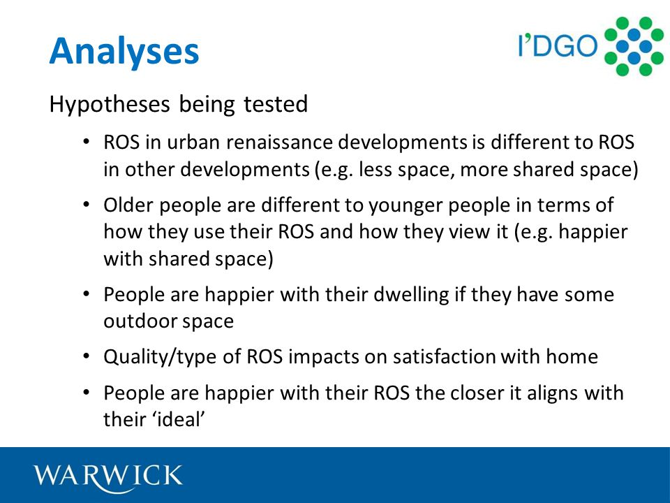 Analyses Hypotheses being tested ROS in urban renaissance developments is different to ROS in other developments (e.g.