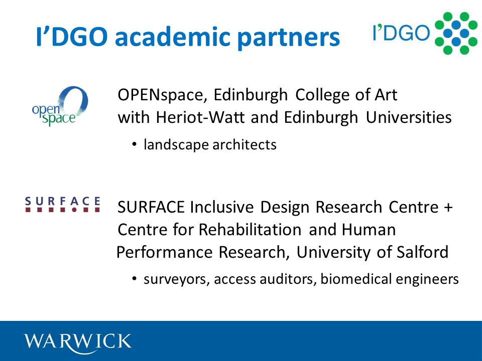 IDGO academic partners OPENspace, Edinburgh College of Art with Heriot-Watt and Edinburgh Universities landscape architects SURFACE Inclusive Design Research Centre + Centre for Rehabilitation and Human Performance Research, University of Salford surveyors, access auditors, biomedical engineers