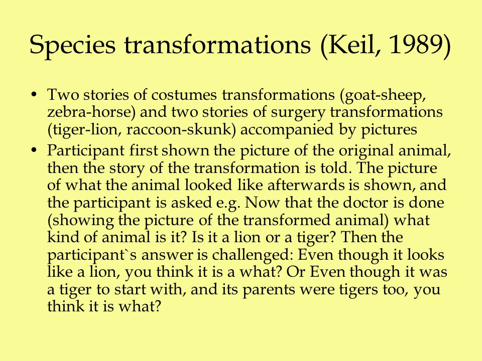 Species transformations (Keil, 1989) Two stories of costumes transformations (goat-sheep, zebra-horse) and two stories of surgery transformations (tiger-lion, raccoon-skunk) accompanied by pictures Participant first shown the picture of the original animal, then the story of the transformation is told.