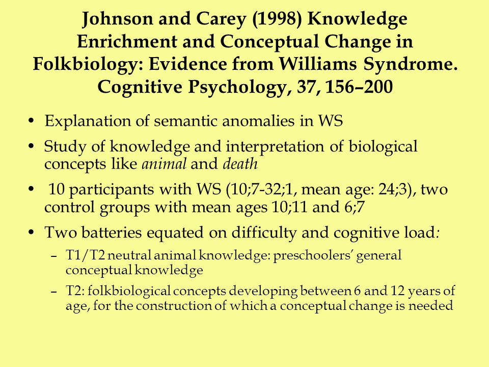 Johnson and Carey (1998) They argue that knowledge enrichment (i.e.