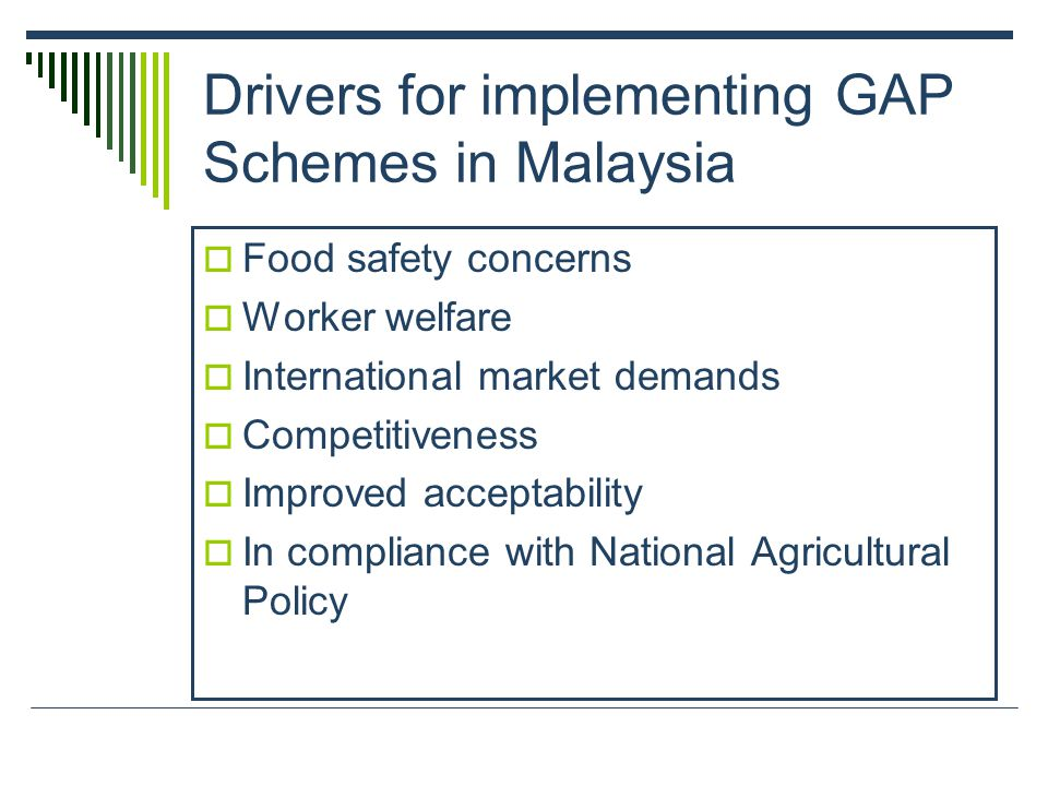 Drivers for implementing GAP Schemes in Malaysia Food safety concerns Worker welfare International market demands Competitiveness Improved acceptability In compliance with National Agricultural Policy