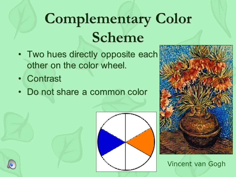 CONTRASTING SCHEMES Visually excitingVisually exciting Unrelated colors from distant part of color wheelUnrelated colors from distant part of color wheel Artist determines correct color proportions and proper color placementArtist determines correct color proportions and proper color placement