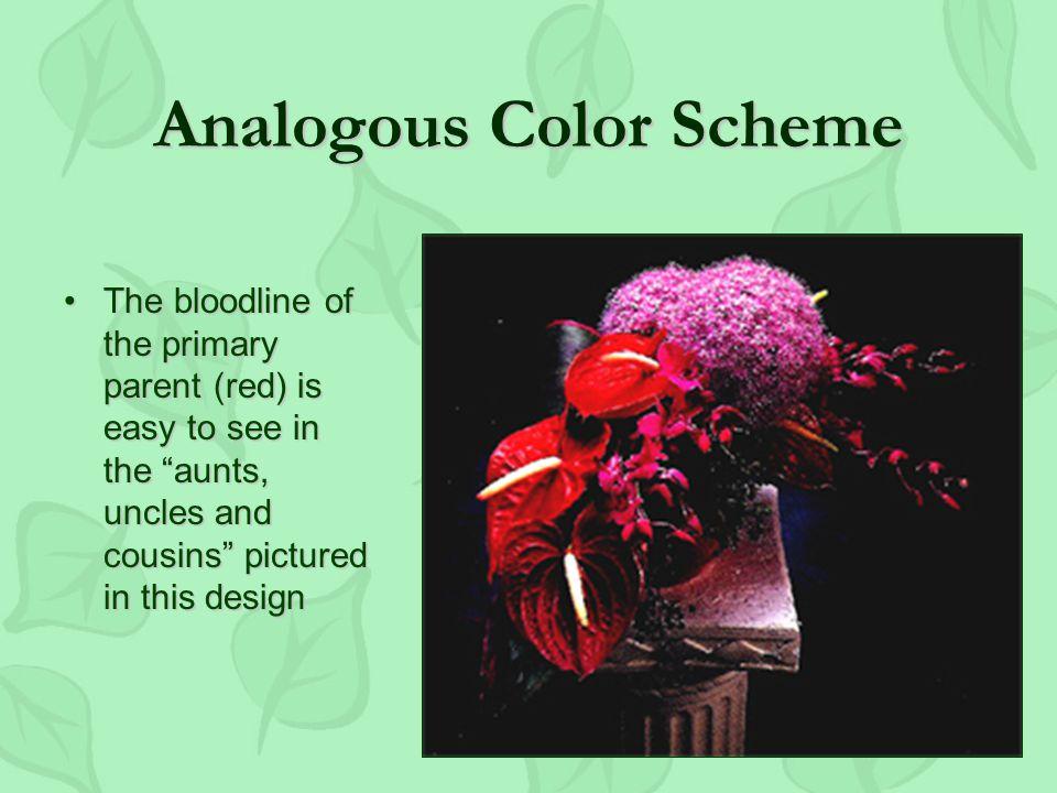 Analogous Color Scheme Next to each other on the color wheelNext to each other on the color wheel Have a color in commonHave a color in common Three or more colorsThree or more colors Francois Boucher Madame Marquise de la Pompadour.