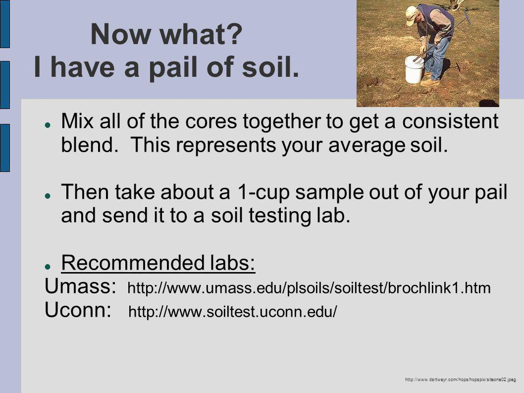 Now what. I have a pail of soil. Mix all of the cores together to get a consistent blend.