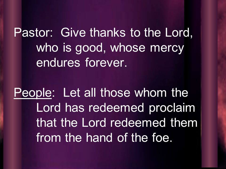 Pastor: Give thanks to the Lord, who is good, whose mercy endures forever.