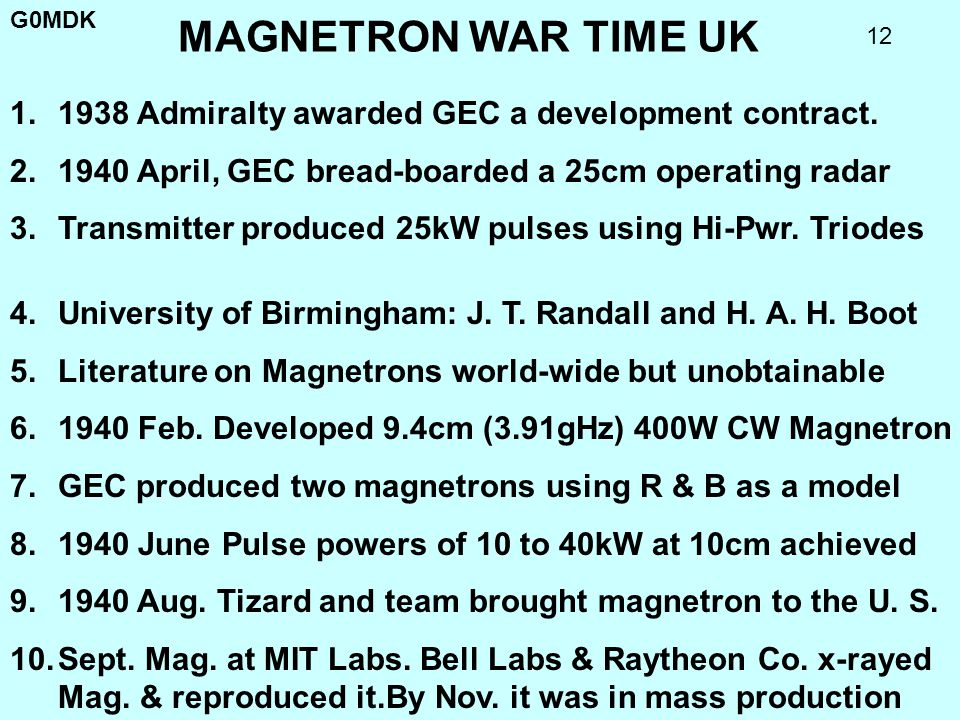 G0MDK 12 MAGNETRON WAR TIME UK 4.University of Birmingham: J. T. Randall and H. A. H. Boot 5.Literature on Magnetrons world-wide but unobtainable 6.19