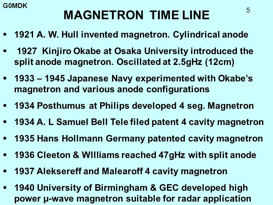 G0MDK 16 E-1189 MAGNETRON Photo of actual magnetron Tizard took to N.