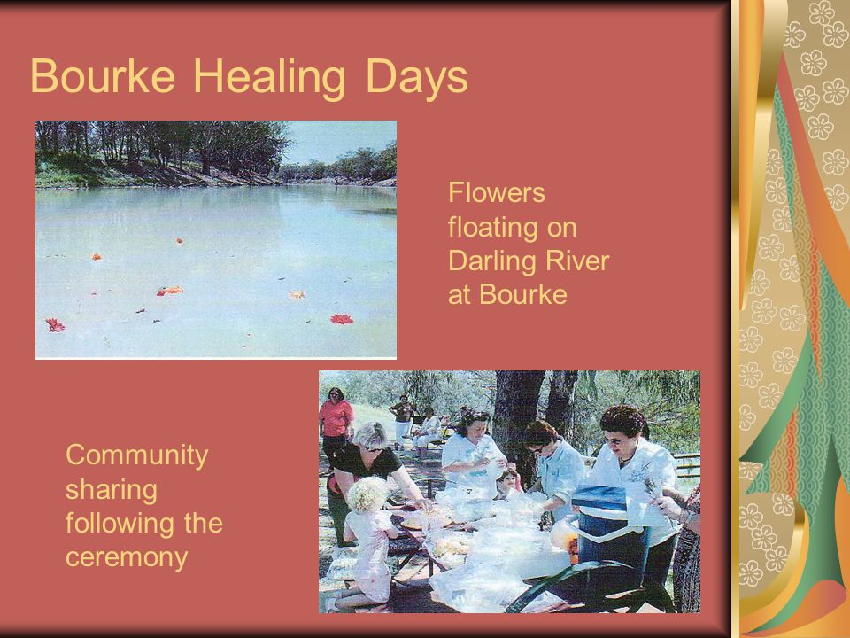 Bourke Healing Days Flowers floating on Darling River at Bourke Community sharing following the ceremony