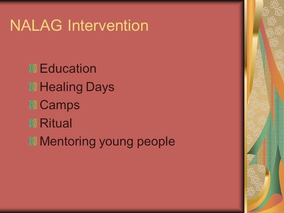 NALAG Intervention Education Healing Days Camps Ritual Mentoring young people