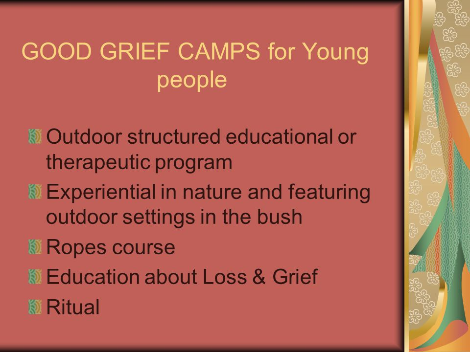 GOOD GRIEF CAMPS for Young people Outdoor structured educational or therapeutic program Experiential in nature and featuring outdoor settings in the bush Ropes course Education about Loss & Grief Ritual