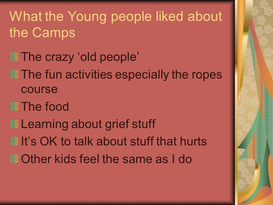 What the Young people liked about the Camps The crazy old people The fun activities especially the ropes course The food Learning about grief stuff Its OK to talk about stuff that hurts Other kids feel the same as I do