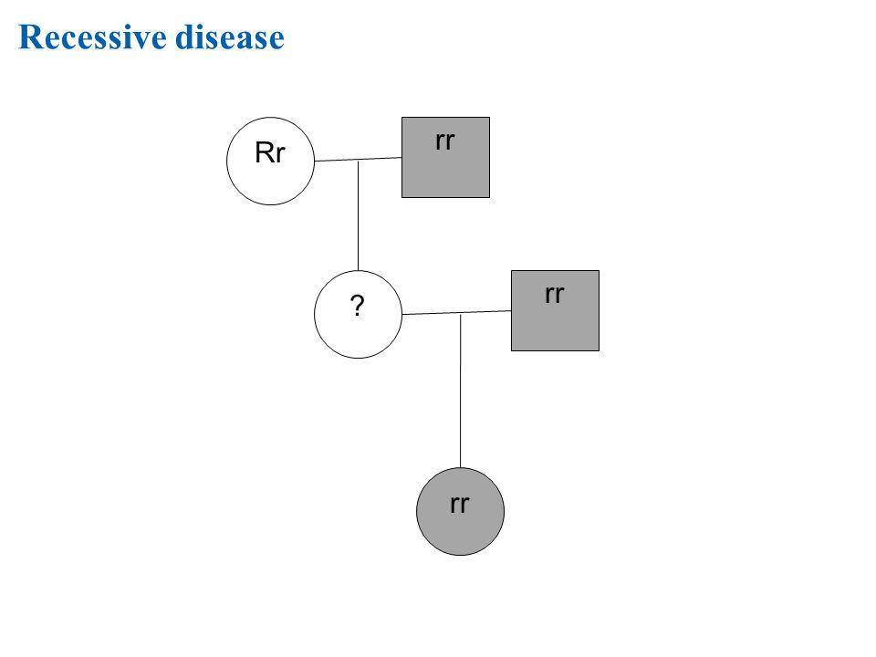 Recessive disease Rr ? rr