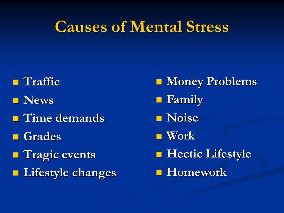 Causes of Mental Stress Traffic Traffic News News Time demands Time demands Grades Grades Tragic events Tragic events Lifestyle changes Lifestyle chan