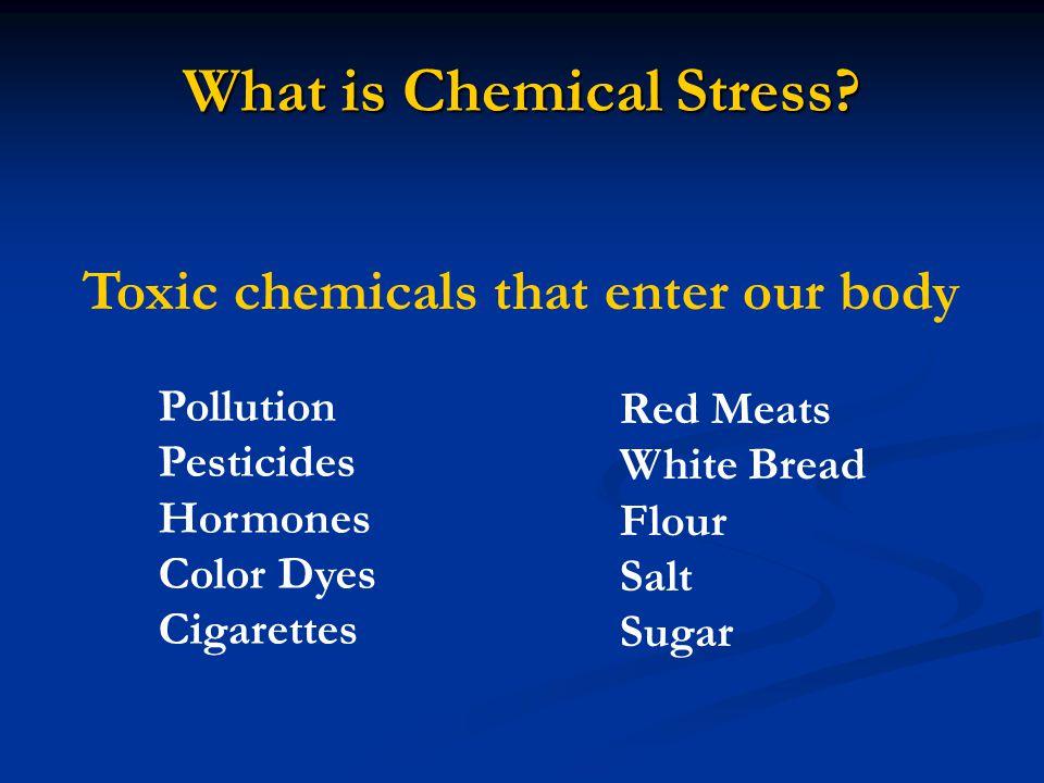 What is Chemical Stress? Toxic chemicals that enter our body Red Meats White Bread Flour Salt Sugar Pollution Pesticides Hormones Color Dyes Cigarette