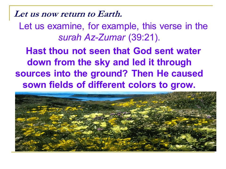Let us now return to Earth. Let us examine, for example, this verse in the surah Az-Zumar (39:21). Hast thou not seen that God sent water down from th