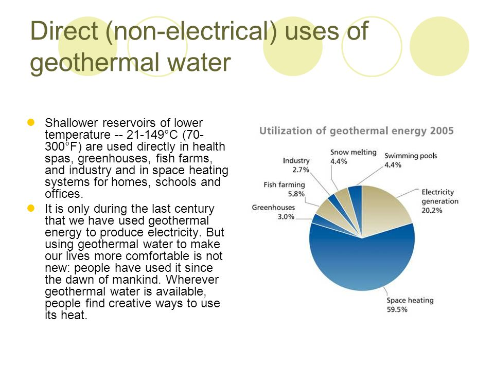 Direct (non-electrical) uses of geothermal water Shallower reservoirs of lower temperature -- 21-149°C (70- 300°F) are used directly in health spas, g