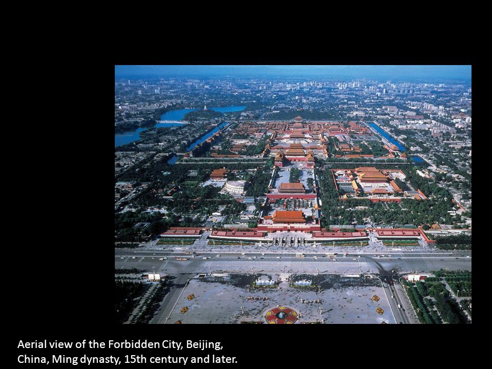 Aerial view of the Forbidden City, Beijing, China, Ming dynasty, 15th century and later.