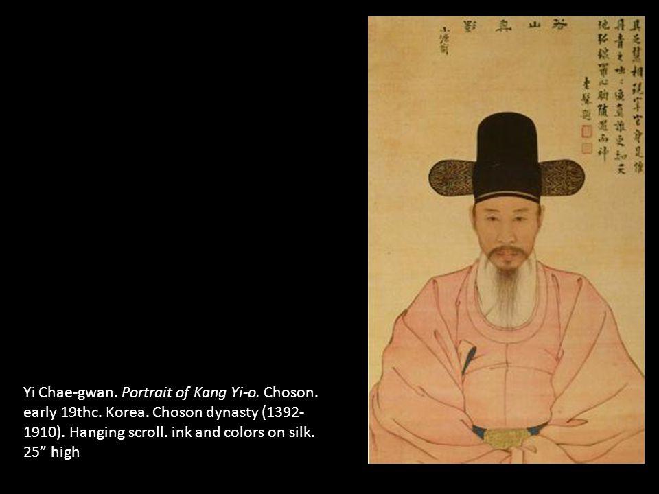 Yi Chae-gwan. Portrait of Kang Yi-o. Choson. early 19thc. Korea. Choson dynasty (1392- 1910). Hanging scroll. ink and colors on silk. 25 high