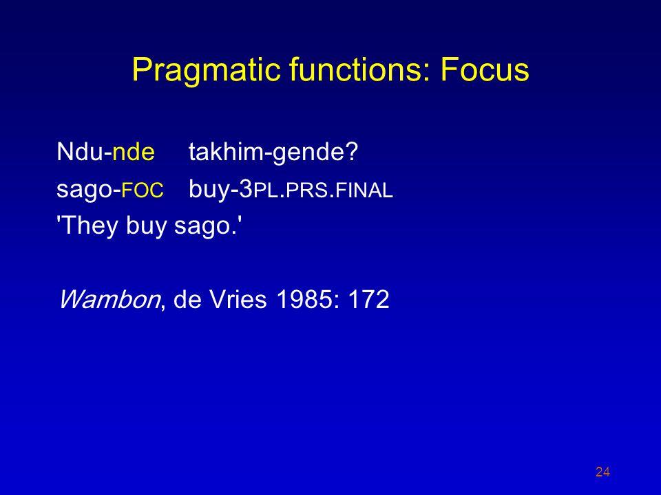 Pragmatic functions: Focus Ndu-ndetakhim-gende? sago- FOC buy-3 PL. PRS. FINAL 'They buy sago.' Wambon, de Vries 1985: 172 24